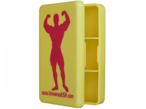 Universal Animal Pill Box Yellow Red Logo