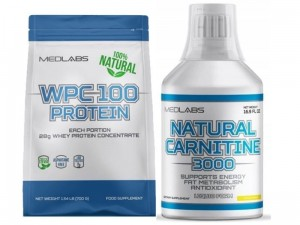 Medlabs Natural Carnitine 500ml + WPC 100 Protein Natural 810g